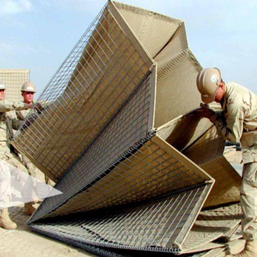 Galvanized welded gabion box flood barrier, military sand wall hesco barriers iron steel